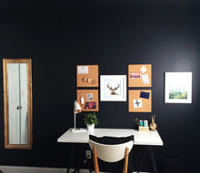 black white gold office makeover, home office, lighting, painting, wall decor