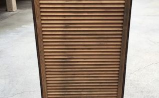 repurposed scrap redwood fence and a louvered window shutter, fences, painted furniture, repurposing upcycling, woodworking projects