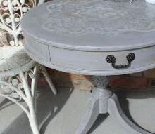 stenciled distressed table makeover, painted furniture