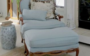 reupholstering a chair and ottoman, how to, painted furniture, reupholster