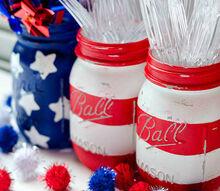american flag mason jars, crafts, how to, mason jars, repurposing upcycling, seasonal holiday decor