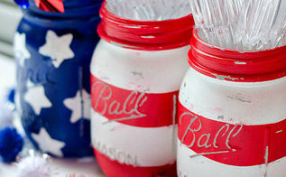 american flag mason jars, crafts, how to, mason jars, repurposing upcycling, seasonal holiday decor