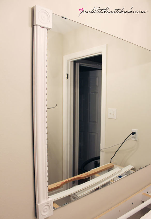 How to frame out that builder s grade mirror the easy way hometalk for How to frame mirror in bathroom
