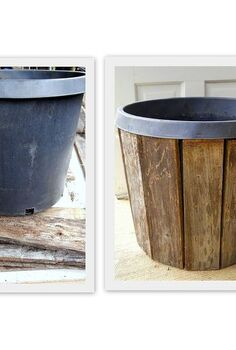 pallet wood planter project, container gardening, gardening, pallet, repurposing upcycling, Restyle a nursery pot using pallet boards
