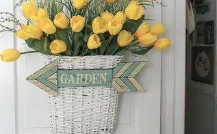 yellow tulips door decoration, crafts, doors, flowers, home decor