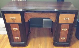 old art deco style vanity becomes a desk, painted furniture, repurposing upcycling