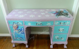 frozen inspired vanity and decoupage tutorial, decoupage, how to, painted furniture
