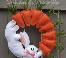 no sew fun bunny and carrot wreath, crafts, easter decorations, how to, seasonal holiday decor, wreaths
