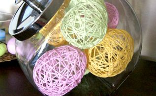 easter decor yarn wrapped eggs, crafts, easter decorations, how to, repurposing upcycling, seasonal holiday decor