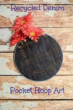 recycled denim pocket hoop art, crafts, how to, repurposing upcycling