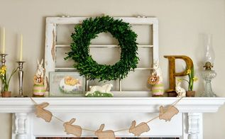 easter mantel using an old chippy window, easter decorations, fireplaces mantels, repurposing upcycling, seasonal holiday decor, windows