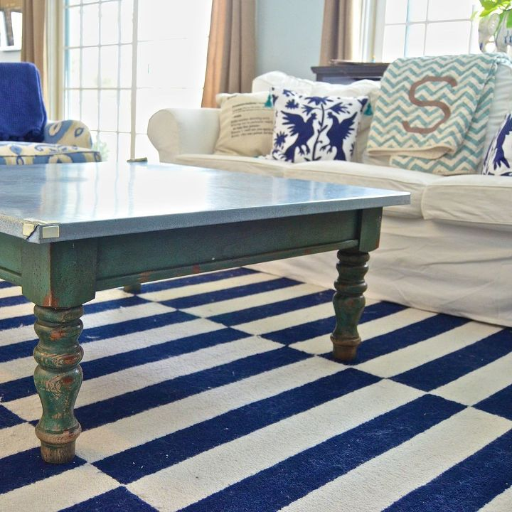 navy knock out coffee table, living room ideas, painted furniture - Knock Out Navy Coffee Table Hometalk