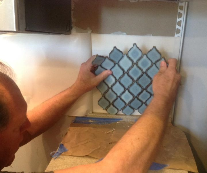 Arabesque Blue Tile Backsplash Using An Adhesive Mat