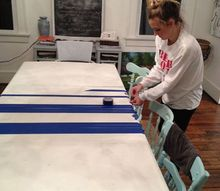 diy striped dining room table, how to, painted furniture
