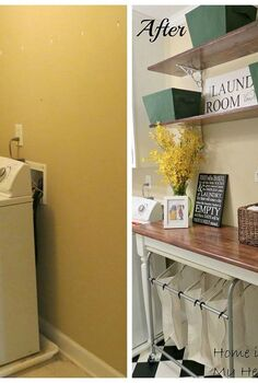 blah to charming laundry room, flooring, laundry rooms, shelving ideas, wall decor