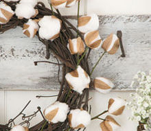 diy farmhouse cotton branches for less than 4 for 2 displays, crafts, how to, repurposing upcycling, wreaths