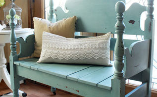 mason jar blue headboard bench, painted furniture, repurposing upcycling, woodworking projects