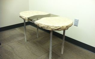 concrete side table with glass insert and rebar legs, concrete masonry, diy, how to, painted furniture