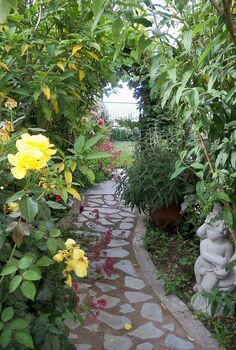 my diy recycled secret garden, concrete masonry, gardening, repurposing upcycling, One year later view from the back
