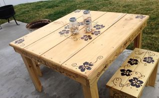 table and benches, diy, how to, outdoor furniture, painted furniture, woodworking projects, Final