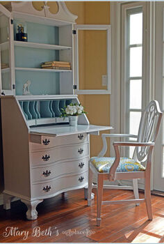 a fresh new look for a secretary desk, chalk paint, painted furniture, reupholster