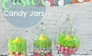 diy easter candy jar centerpiece craft, easter decorations, seasonal holiday decor