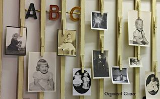 family baby photos displayed on a vintage crib rail, repurposing upcycling, wall decor