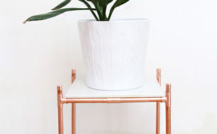 copper pipe marble plant stand sidetable, gardening, home decor, painted furniture, plumbing, repurposing upcycling