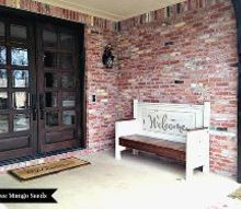 custom built welcome bench, outdoor furniture, outdoor living, painted furniture, porches, repurposing upcycling