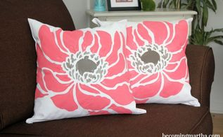 spring inspired stenciled accent pillows, crafts, how to, reupholster