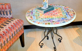 vintage postage stamp table, decoupage, painted furniture, repurposing upcycling, Side table in use