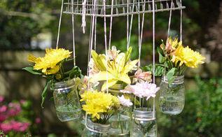 mason jar flower chandelier, crafts, gardening, mason jars, outdoor living, repurposing upcycling
