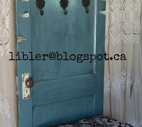 Turquoise Hall Tree Made Out Of An Old Door, Doors, How To, Painted