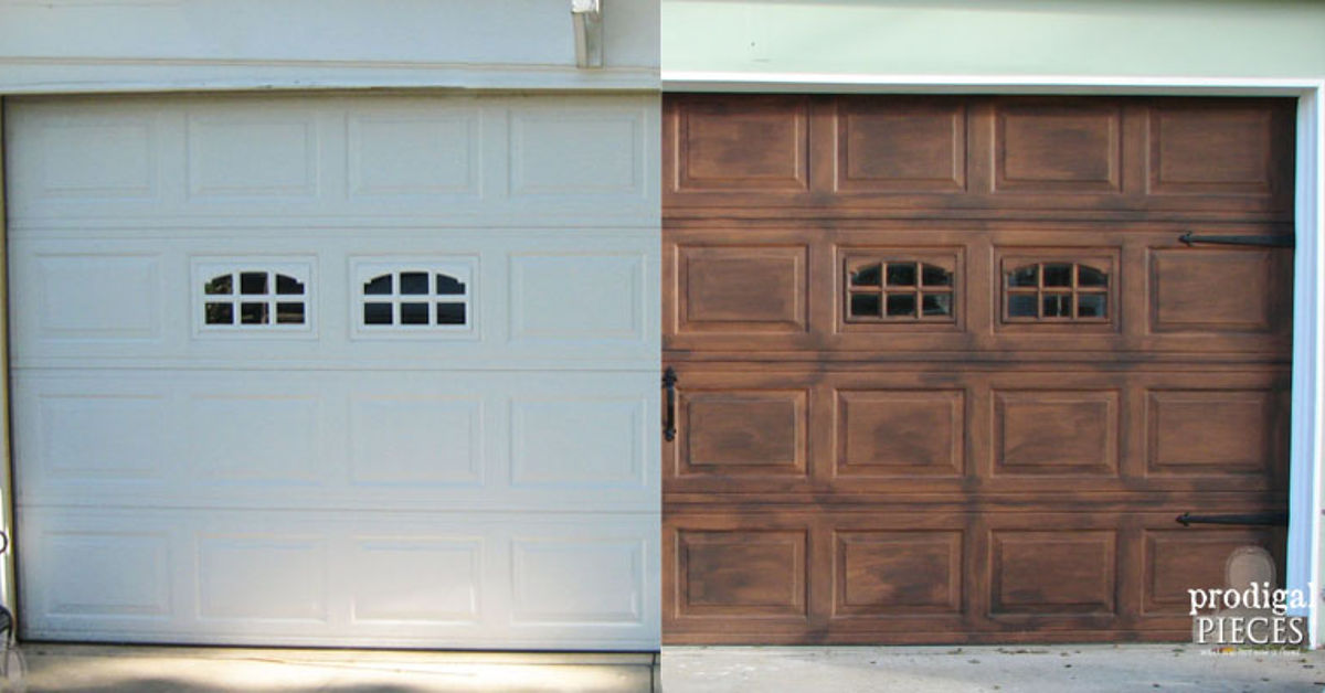 Diy faux stained wood garage door tutorial hometalk for Faux wood door