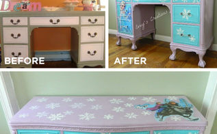 fun furniture makeovers using stencils, painted furniture, repurposing upcycling