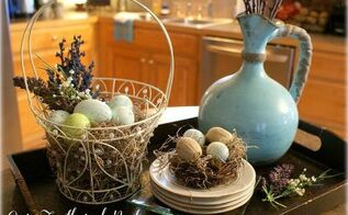 our simple spring decor, easter decorations, seasonal holiday decor