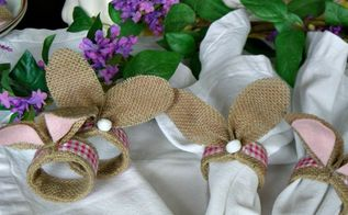 rustic bunny napkin rings, crafts, decoupage, dining room ideas, easter decorations, how to, seasonal holiday decor