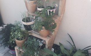 back patio herb garden, container gardening, gardening, homesteading