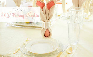 diy bunny napkins, dining room ideas, easter decorations, how to, seasonal holiday decor