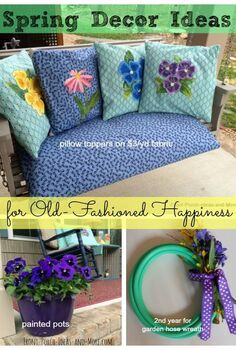 fun floral old fashioned spring porch, container gardening, crafts, easter decorations, gardening, outdoor living, porches, seasonal holiday decor, reupholster