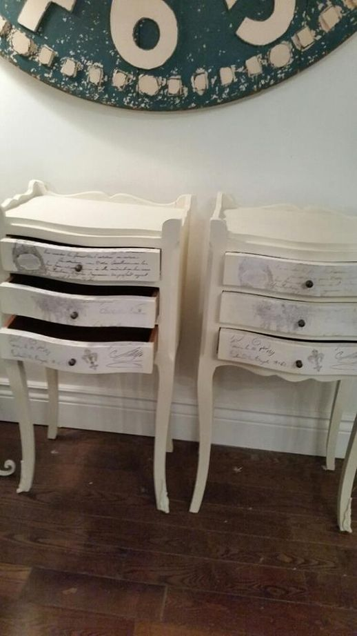 Pretty Painted Side Tables And Matching Dining Room Drop