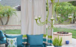 diy outdoor chandelier, lighting, outdoor living, repurposing upcycling