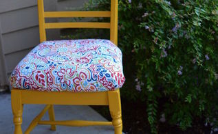 old chair to new yellow craft chair, painted furniture, reupholster
