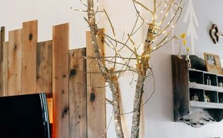copper and wood tree, living room ideas, repurposing upcycling