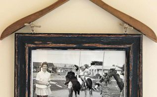 vintage clothes hanger frame photo display, crafts, repurposing upcycling, wall decor
