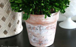vintage inspired flower pots, chalk paint, container gardening, crafts, decoupage, gardening