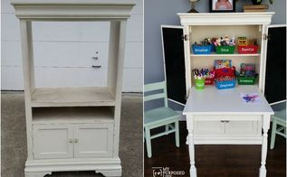 repurposed armoire into kids art center desk, painted furniture, repurposing upcycling, woodworking projects