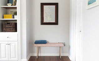 diy upholstered bench, how to, painted furniture, reupholster