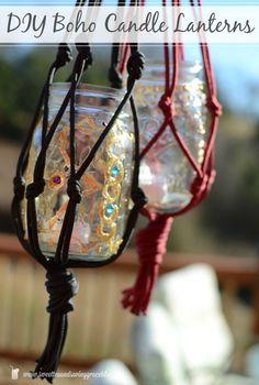diy boho macrame candle lanterns, crafts, how to, mason jars, outdoor living, repurposing upcycling