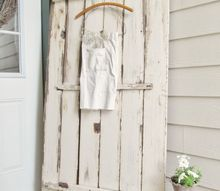 vintage chippy tabletop porch vignette, doors, outdoor living, repurposing upcycling